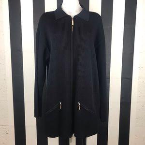 Escada Black Zip Front Olmsted Long Sleeve Top